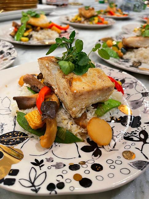 Seared Halibut w/ Stir Fry Veggies & Coconut Ginger Rice