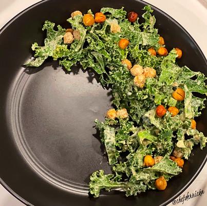Roasted Chickpea Kale Salad w/ Tahini Caesar Dressing