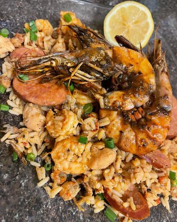Loaded Jambalaya topped w/ BBQ Shrimp