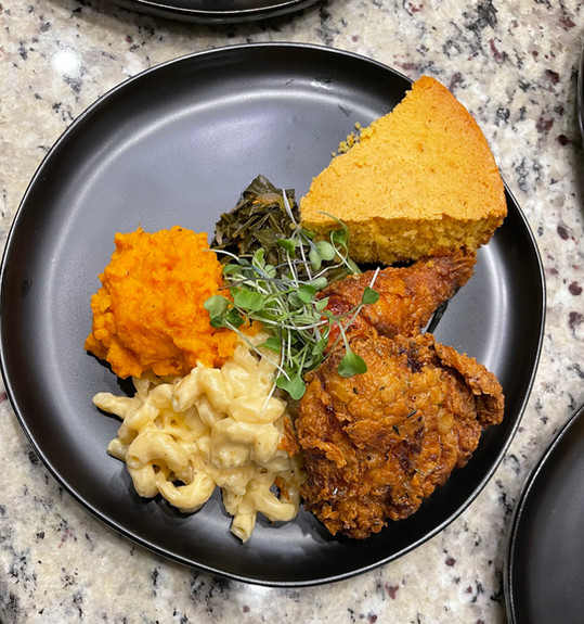 Rosemary Fried Chicken w/ Thyme Honey Drizzle, Truffle Mac, Brown Butter Sage Sweet Potato Mash & Braised Collards w/ Honey Cornbread