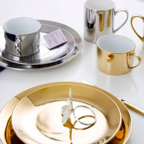 Ceramic Gold & Silver Plates & Mugs