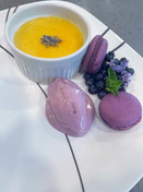 Lavender Creme Brulee w/ Lavender Quenelle & Macarons