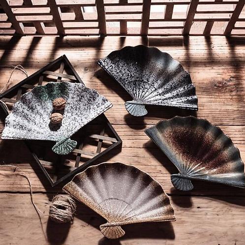 Japanese-Style Marble Fan Ceramic Sushi Plates