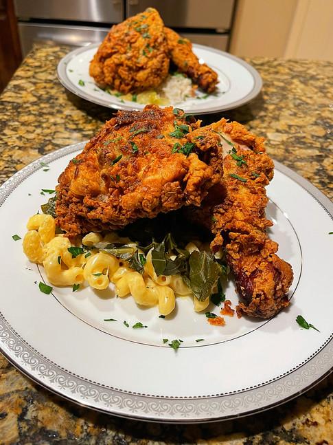 Rosemary Fried Chicken, Truffle Mac & Braised Collards