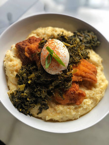 Southern Fried Catfish over Smoked Gouda Grits topped w/ Collard Greens & Poached Egg