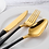 Thumbnail: 4 pcs Gold Plated & Stainless Steel Novelty Cutlery  Set