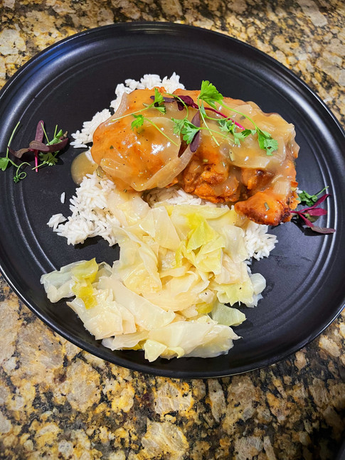 Smothered Rosemary Chicken w/ Fried Cabbage & Rice