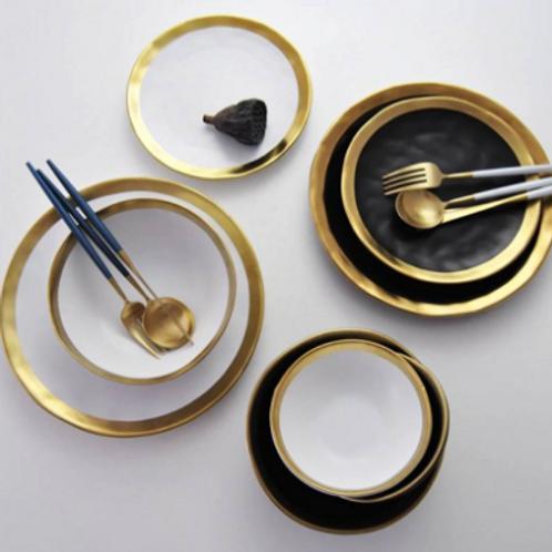 Black Gold Bowl Ceramic Western Plate