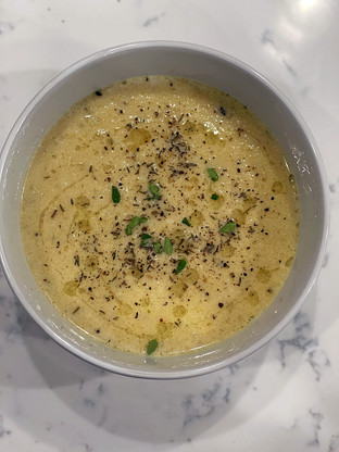 Roasted Cauliflower Soup w/ Cracked Pepper, Thyme & White Truffle Oil Drizzle