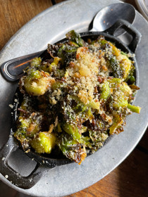 Balsamic Lemon Roasted Brussel Sprouts topped w/ Parmesan