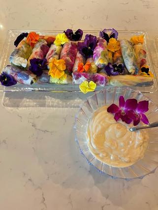 Fruit Spring Rolls w/ Honey Vanilla Yogurt