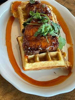 Honey Sriracha Chicken n Waffles