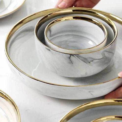 Marble Deep Plate & Bowl Set