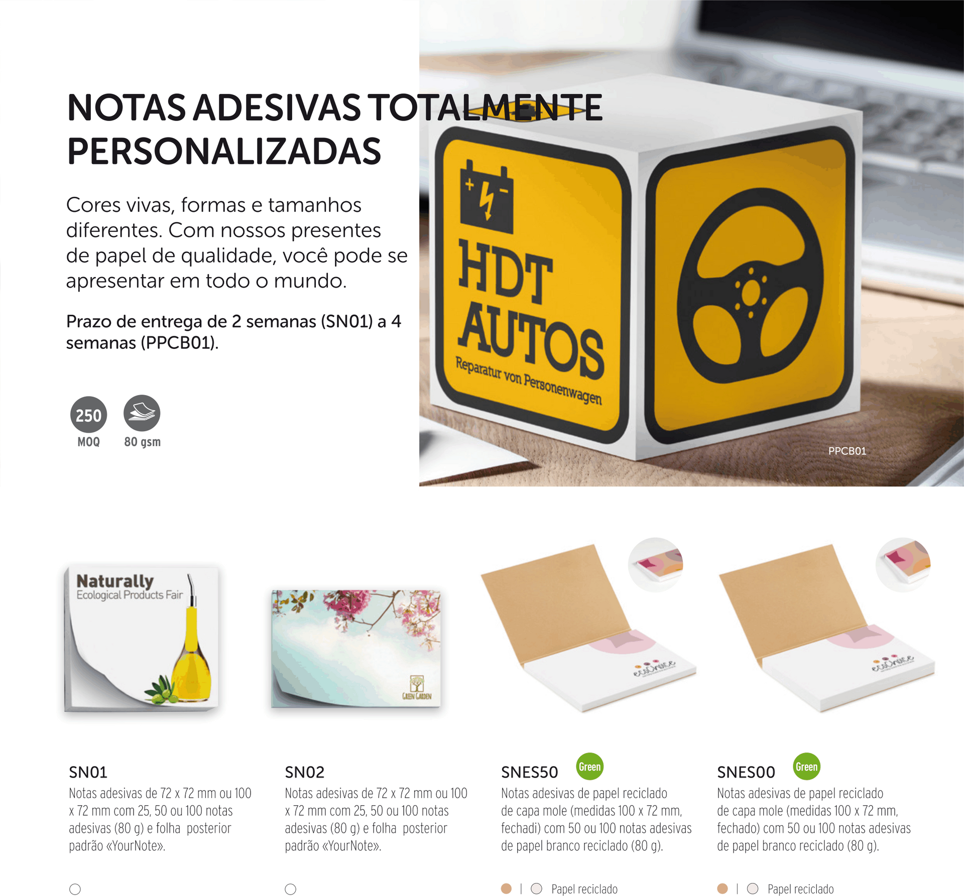 blocos notebooks post-it calendarios