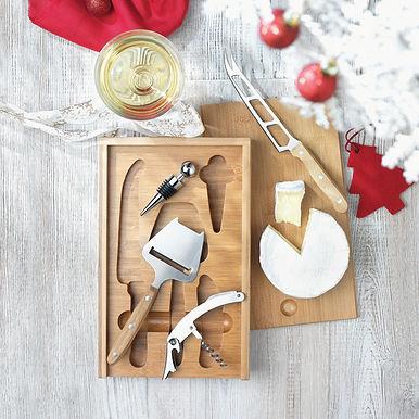 set vinho e queijo bamboo material renovavel brindes