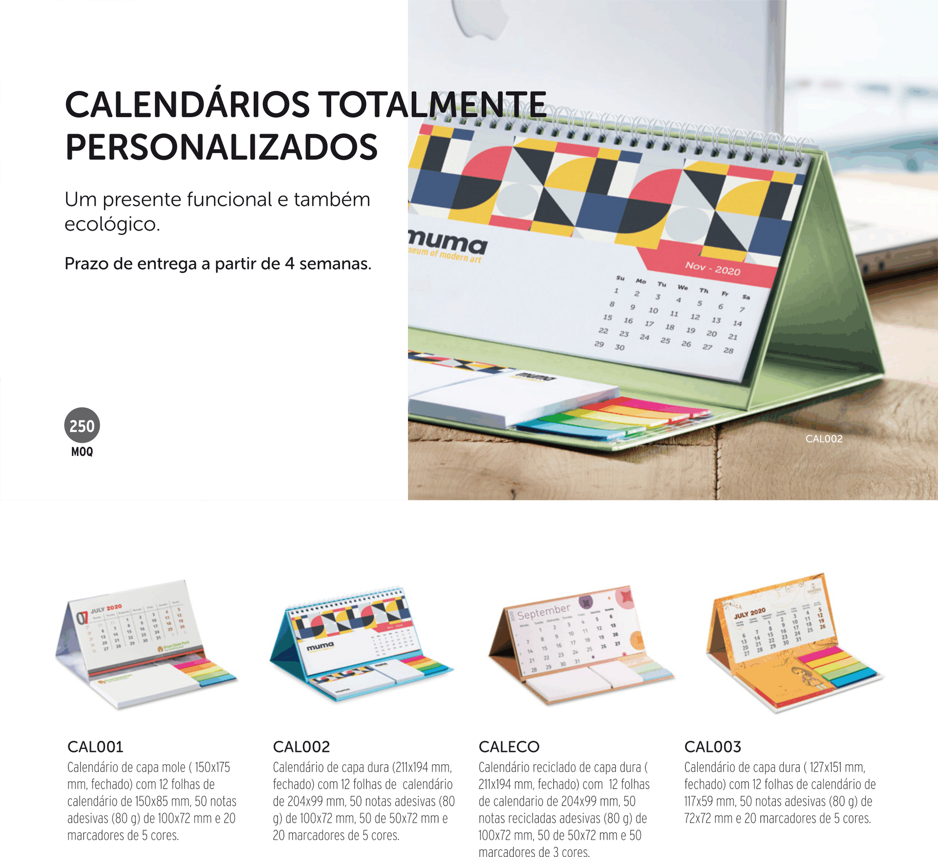 blocos notebooks post it calendarios