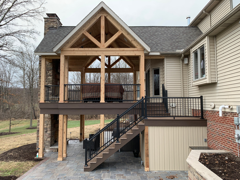 Rustic Two-Story Terrace