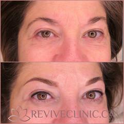 Powder brow and upper eyeliner