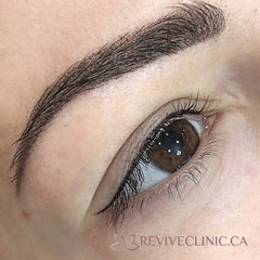 Powder brow and lash enhancement with a baby flick.