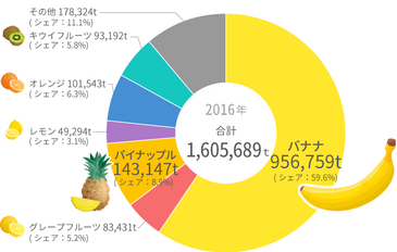 主要輸入果物の輸入数量  2016年