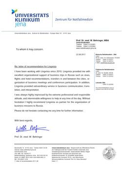 Reference from Jena University Clinics, Germany