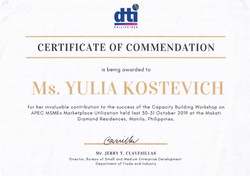 Certificate of commendation from DTI, the Philippines