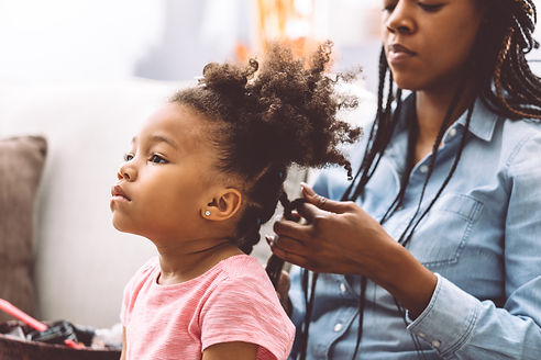 Foster mother and foster daughter. Doing hair. Ontario Foster Care.