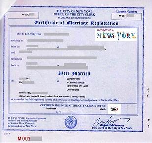 Certificato di Matrimonio New York