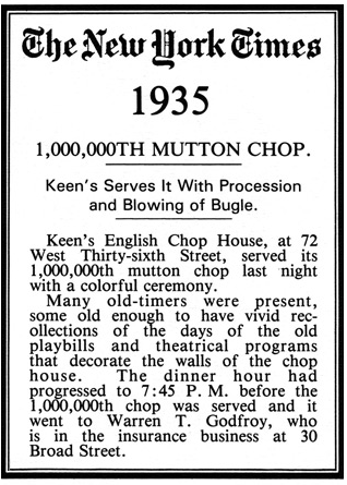 Te New York Times 1935 sulle Mutton Chop di Keen
