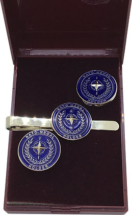 Nato Medal Holder Cufflink and Tie Slide Gift Set.e