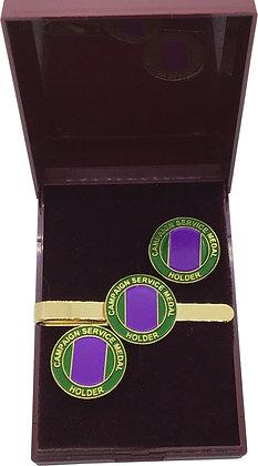 Campaign Service Medal Holder Cufflink & Tie Slide Gift Set