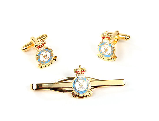 RAF Regiment Cufflink and Tie Slide Set.