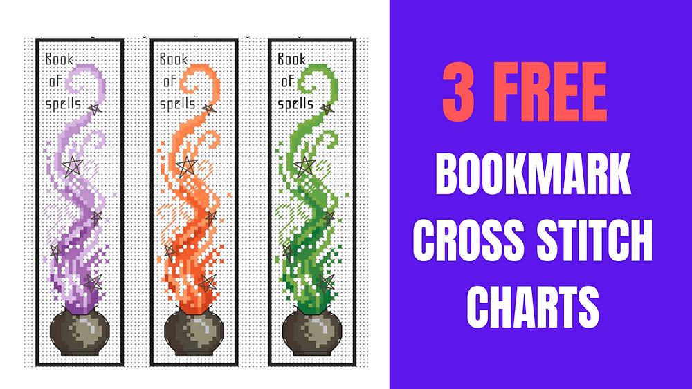 Three halloween cross stitch bookmarks
