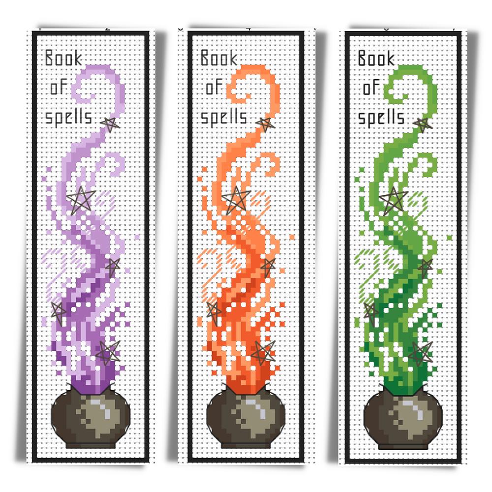 Three witch's cauldron halloween bookmarks.