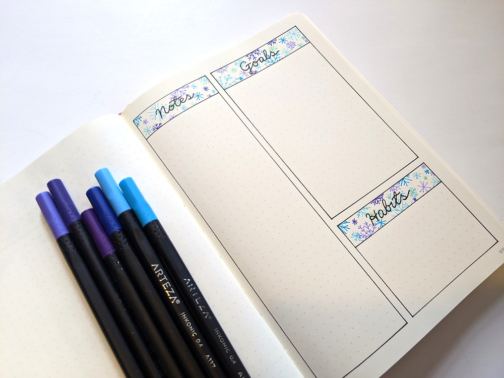 A page in a bullet journal for notes, goals, and habit tracking. The page is drawn in blues and purples.