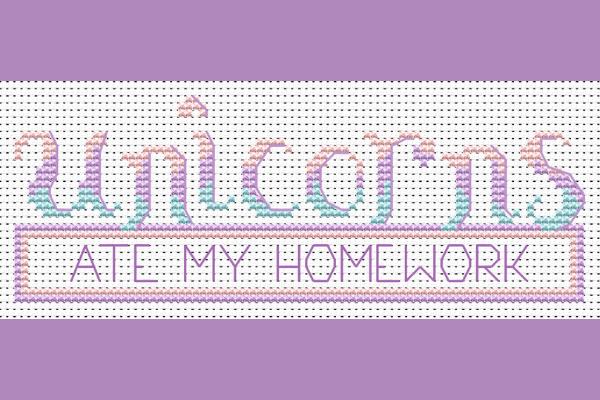 A unicorn cross stitch design in pastel colors.
