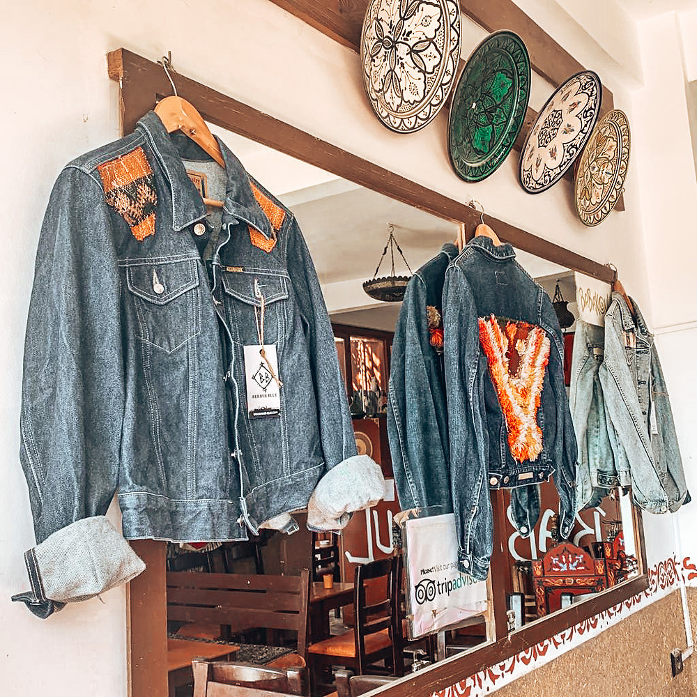 Berber Blue denim jackets stocked at Babakoul Cafe Shop Tamraght