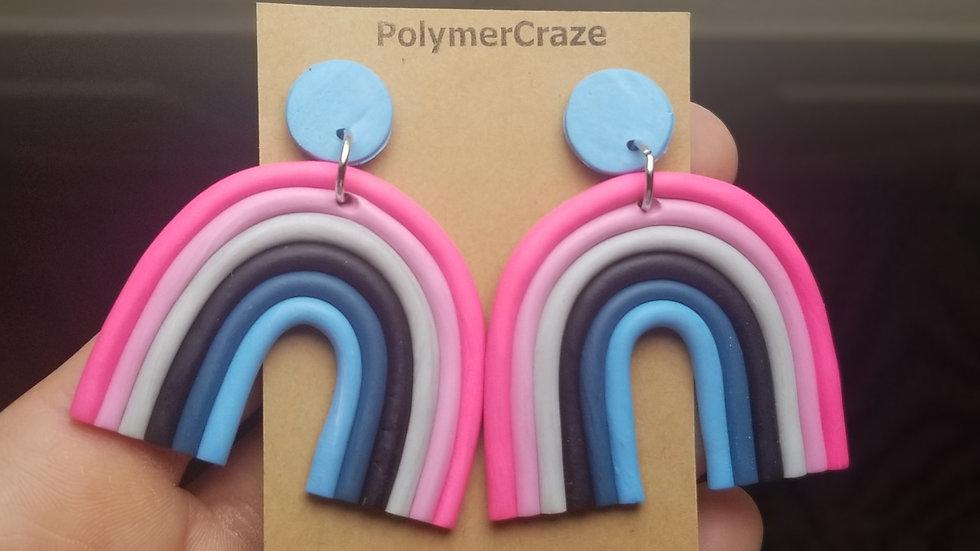 Handmade polymer clay rainbow statement earrings