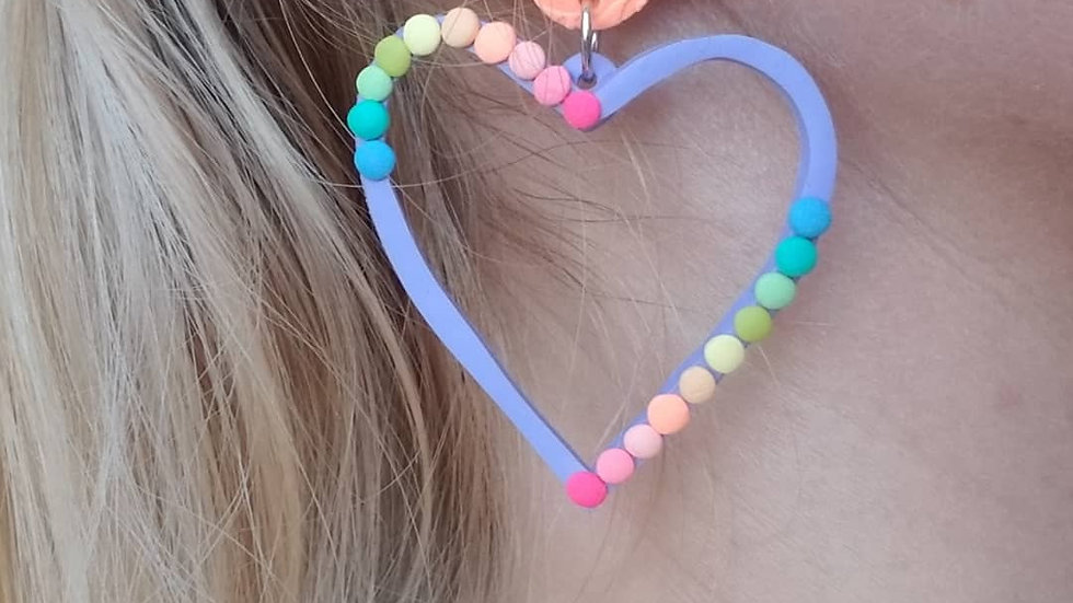 Polymer clay colorful heart statement earrings