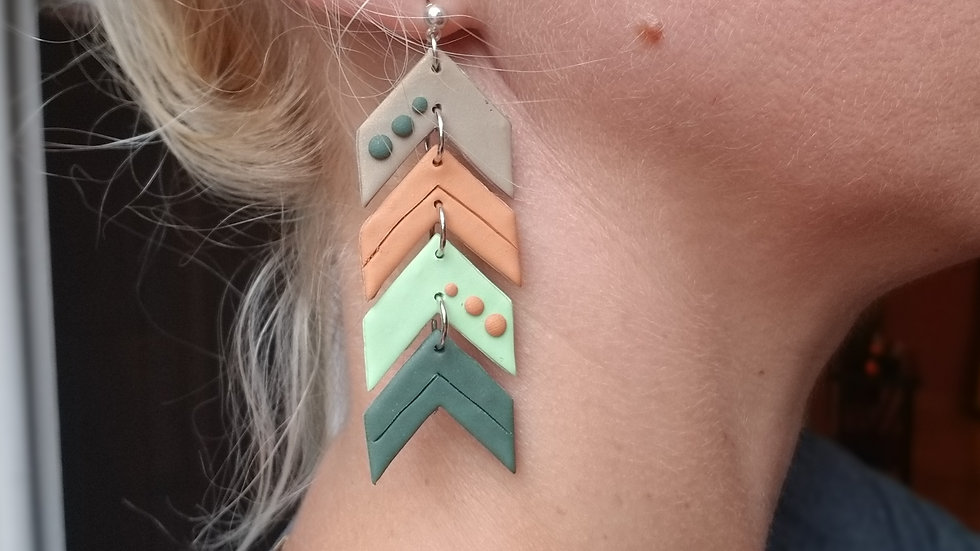 Polymer clay statement chevron earrings
