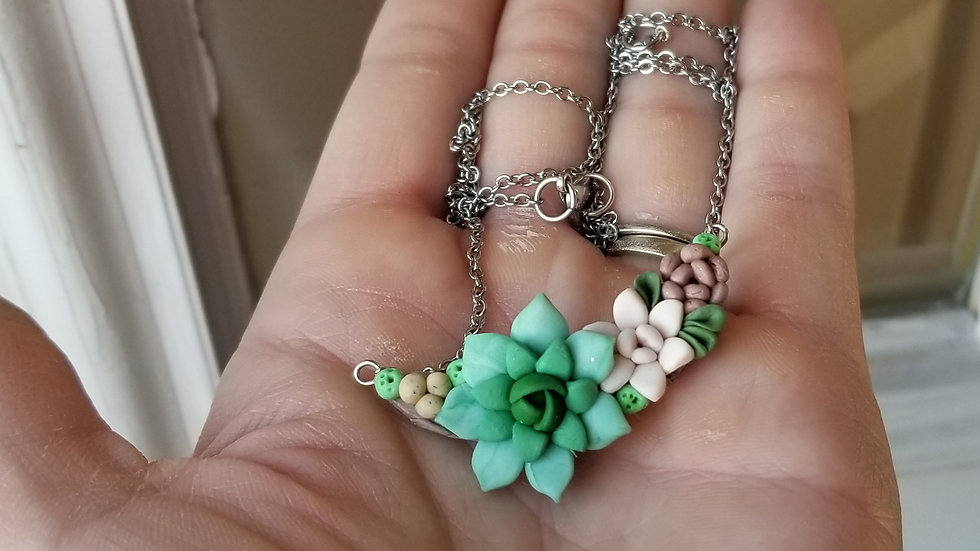 Handmade polymer clay succulent pendant