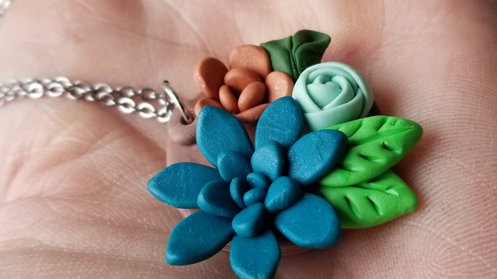 Handmade polymer clay succulent statement pendant necklace