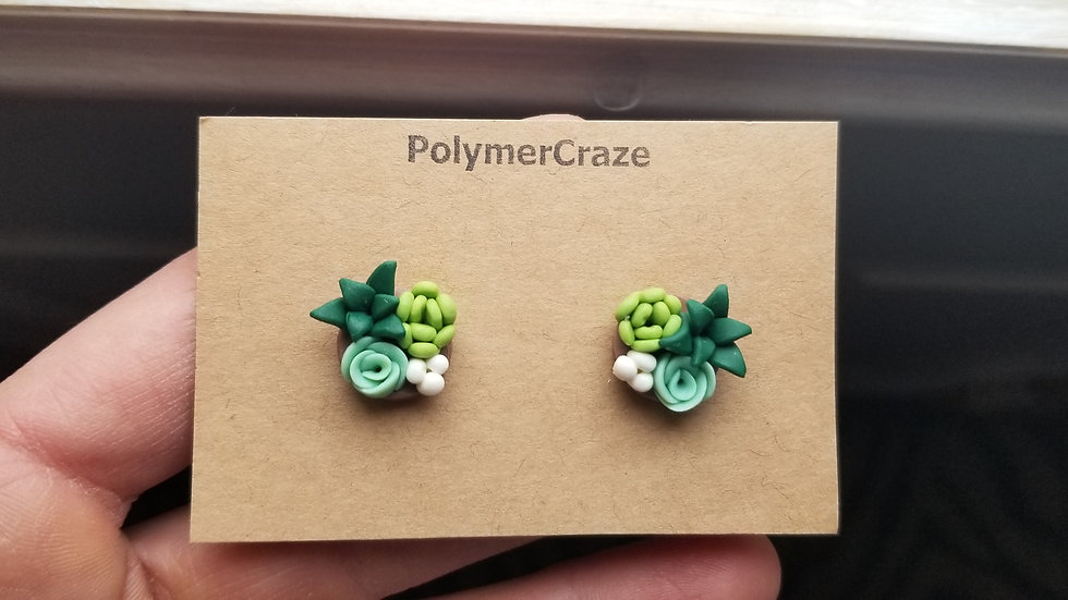 Polymer clay succulent stud earrings