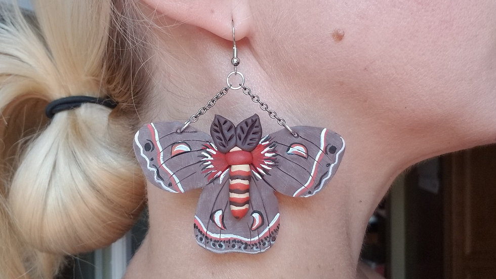 Hand painted polymer clay Cecropia moth statement earrings
