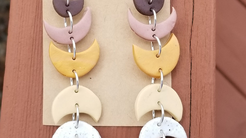 Polymer clay lightweight crescent dangle earrings