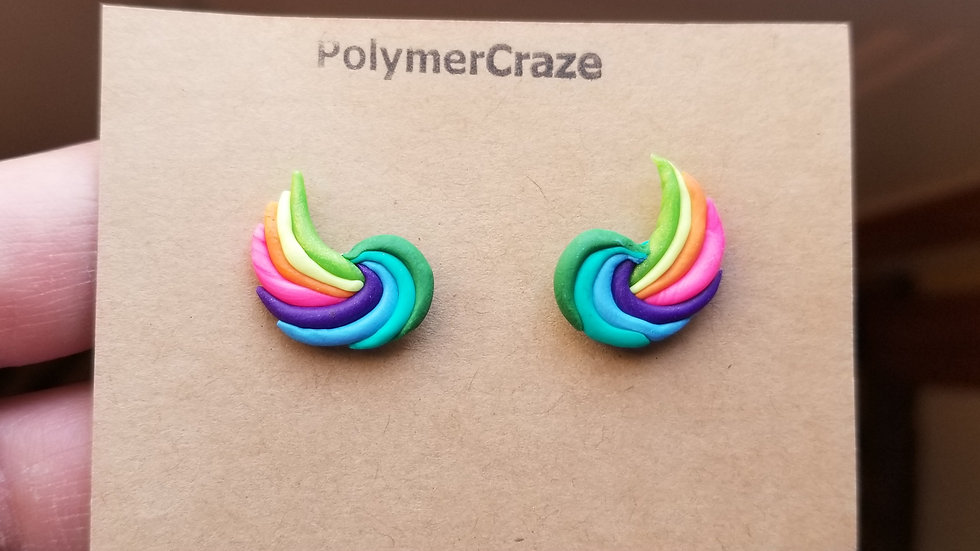 Polymer clay rainbow wing stud earrings