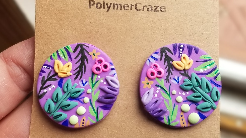 Handmade polymer clay statement stud earrings