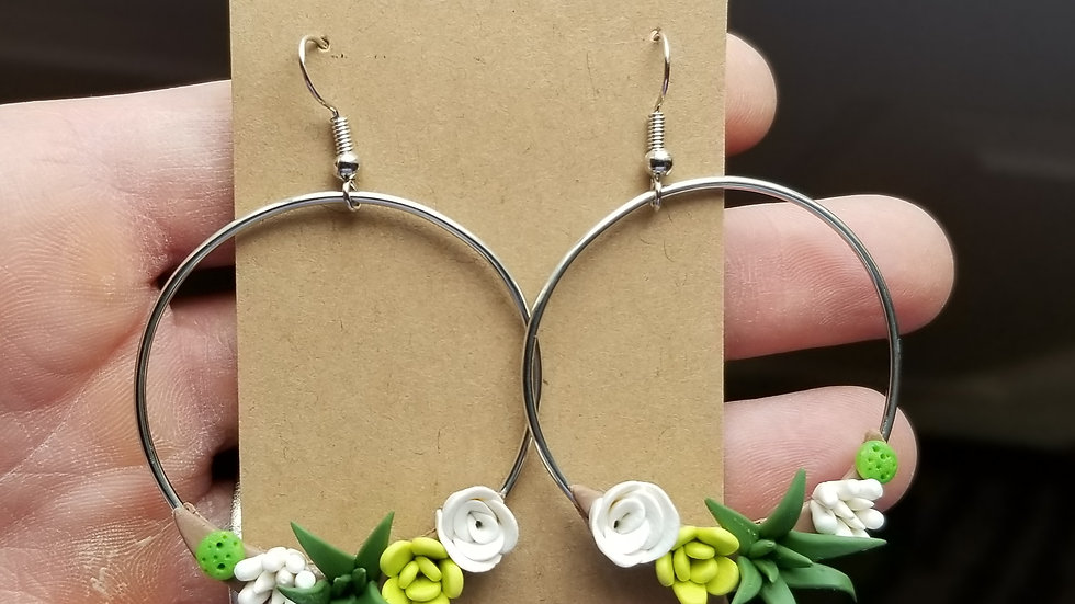 Polymer clay green succulent hoop earrings