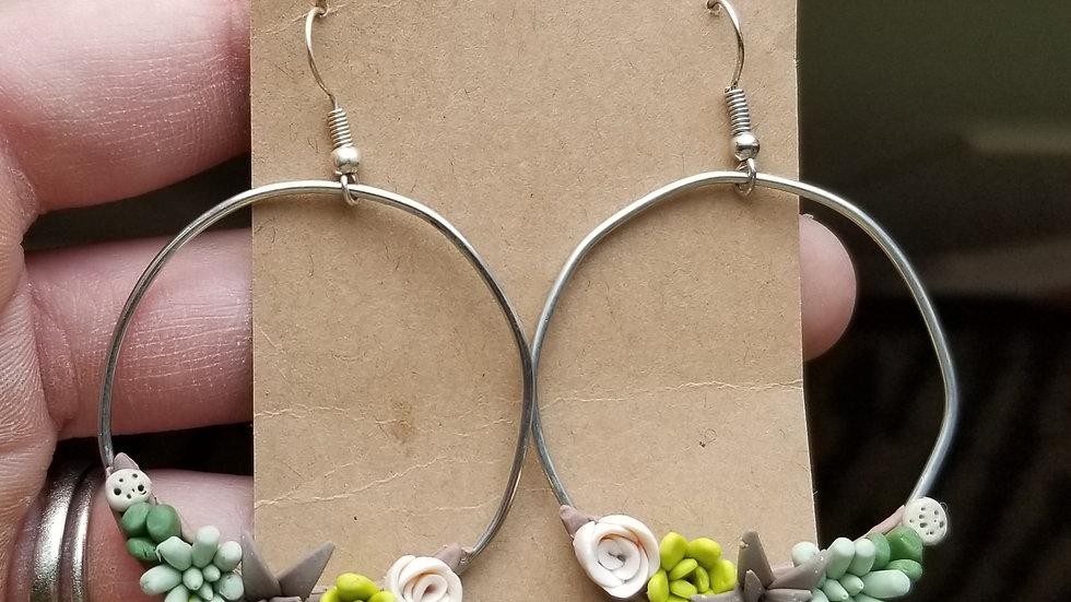 Handmade polymer clay succulent hoop earrings