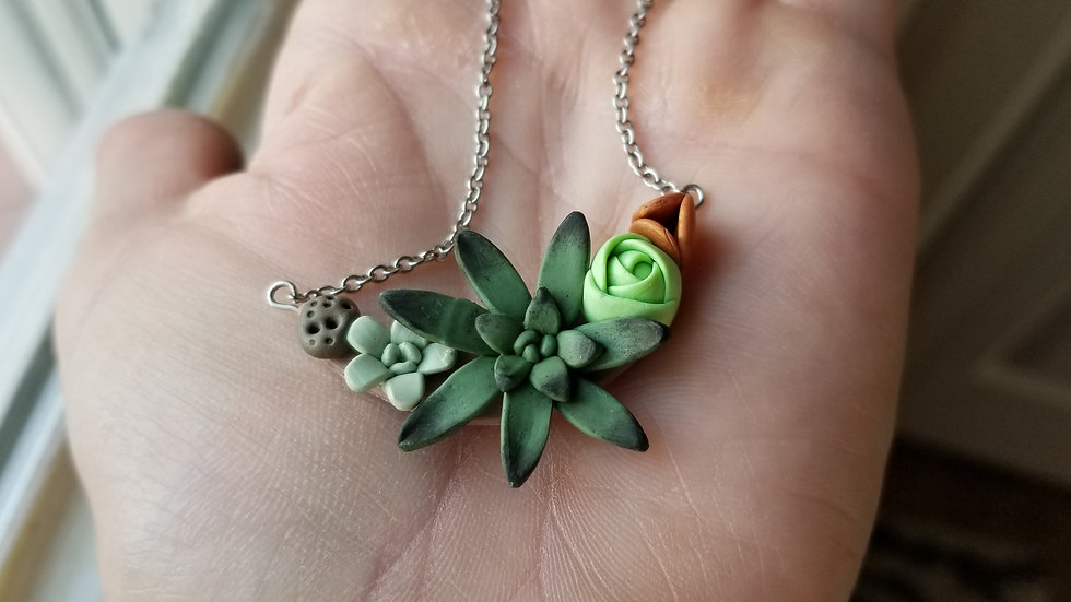 Handmade polymer clay succulent pendant necklace